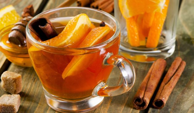 Чай с апельсином фото