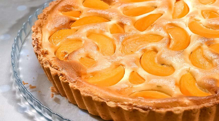 Пирог с персиками и творогом рецепт фото