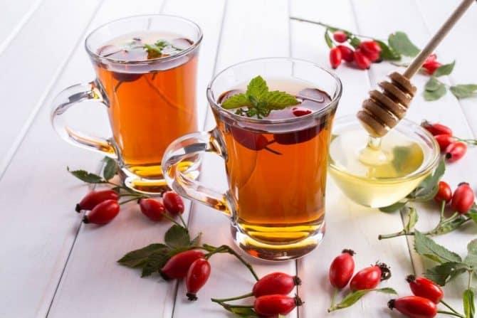 Чай с шиповником и мятой фото