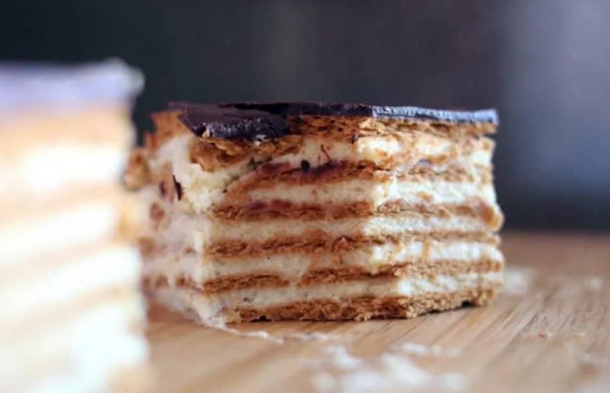 Торт из печенья и творога приготовление фото